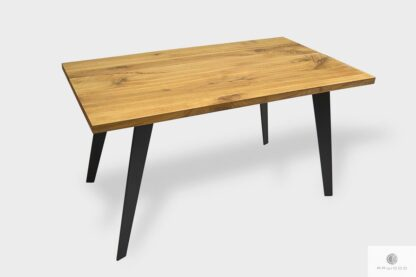 Stół dębowy na metalowych nogach loft do jadalni CORTEZ