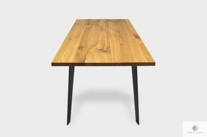 Stół dębowy z dostawkami z metalowymi nogami do jadalni CORTEZ