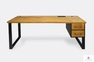 Nowoczesne dębowe biurko na metalowych nogach do gabinetu GORAN I