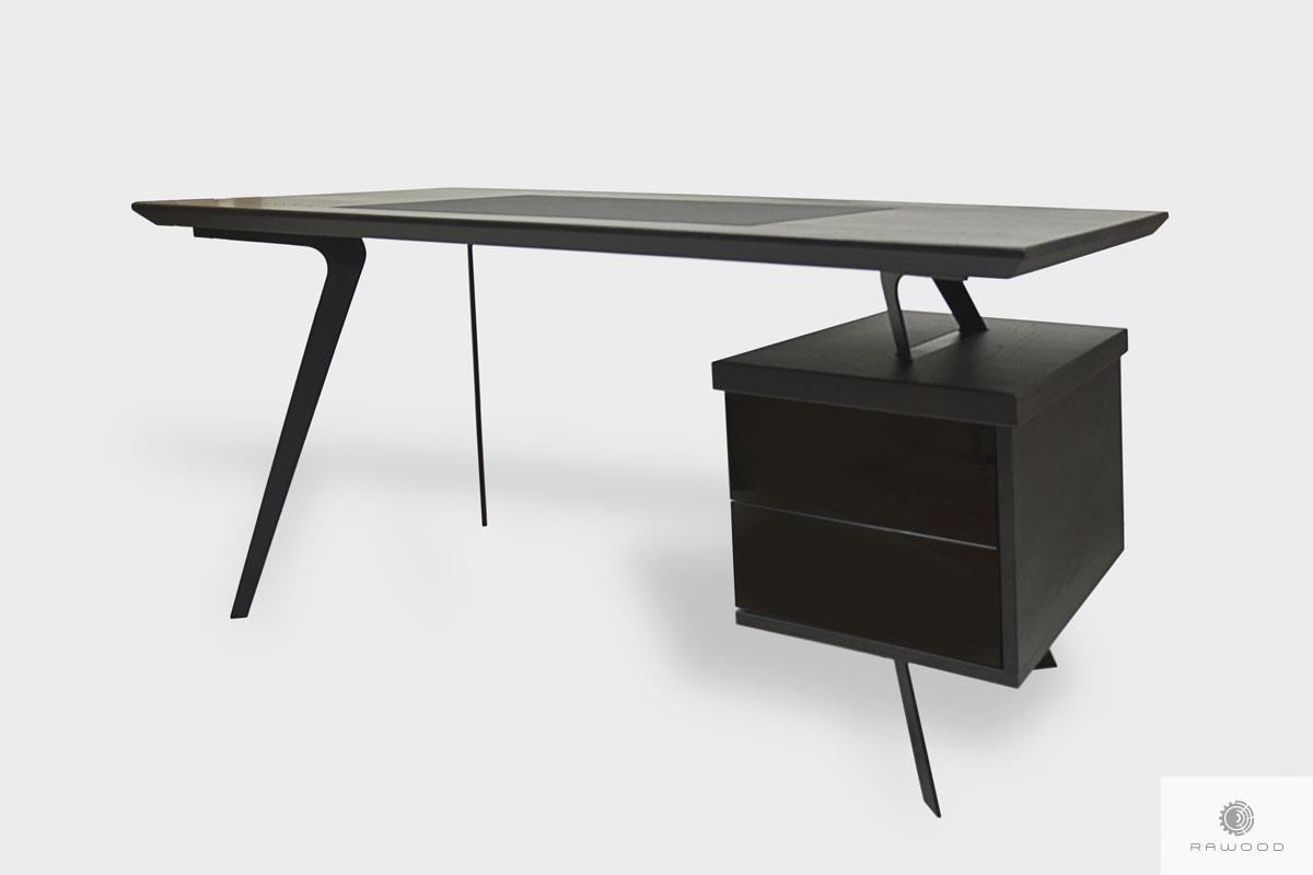 Dębowe biurko gabinetowe z szufladami na metalowych nogach VITA