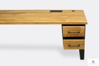 Dębowe biurko z szufladami industrialne na wymiar do gabinetu GORAN II