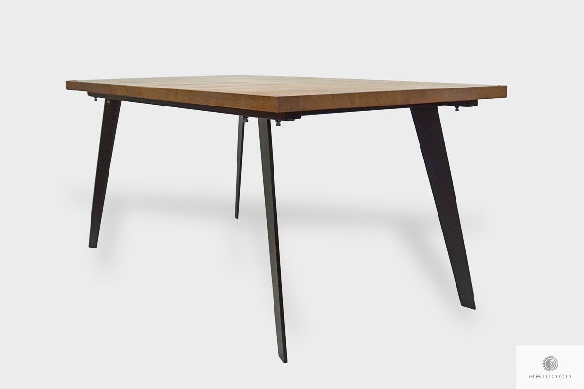 Designerski stół z drewna litego z metalowymi nogami do jadalni CORTEZ