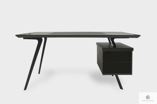 Designerskie biurko dębowe czarne na metalowych nogach biura VITA