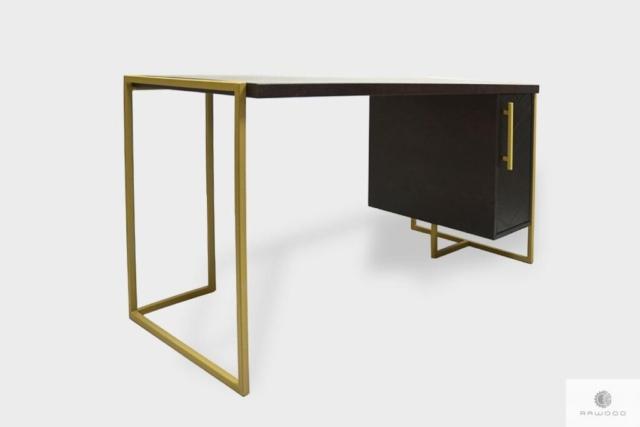 Designerskie biurko z kontenerkiem na metalowych nogach do gabinetu CARIN