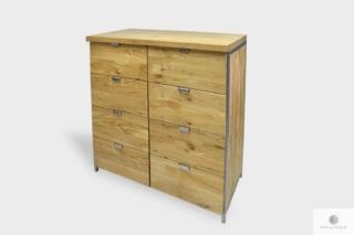 Industrialna komoda z naturalnego dębowego drewna litego do sypialni HUGON