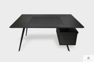 Industrialne biurko czarne z litego drewna do gabinetu VITA