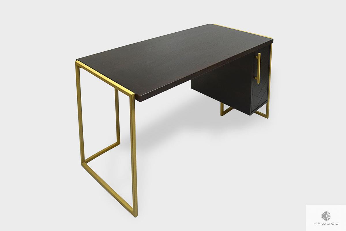 Industrialne biurko z drewnianym blatem i metalowymi nogami BRAN