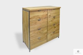 Komoda z szufladami z dębowego drewna na metalowych nogach HUGON