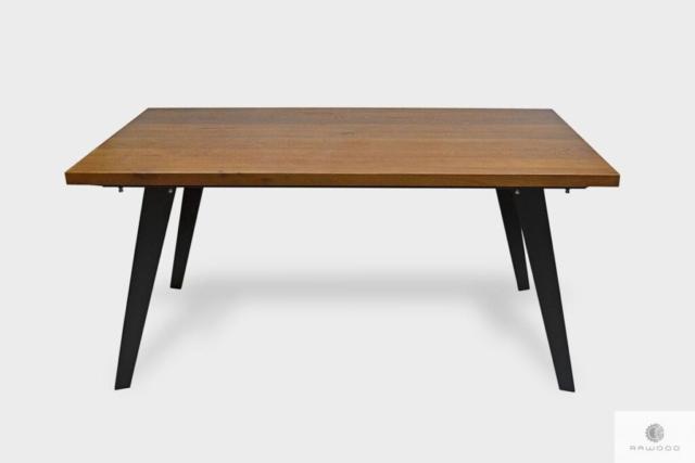 Stół dębowy na metalowych nogach do jadalni salonu CORTEZ