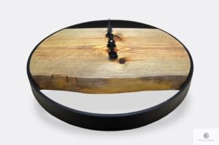 Zegar z drewna litego z czarną metalową obręczą na wymiar