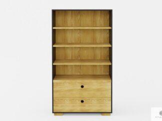 Duży regał na książki drewniany z szufladami i półkami do salonu CARLA