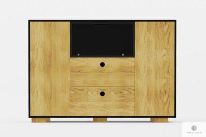 Nowoczesna komoda dębowa z szufladami i półkami CARLA