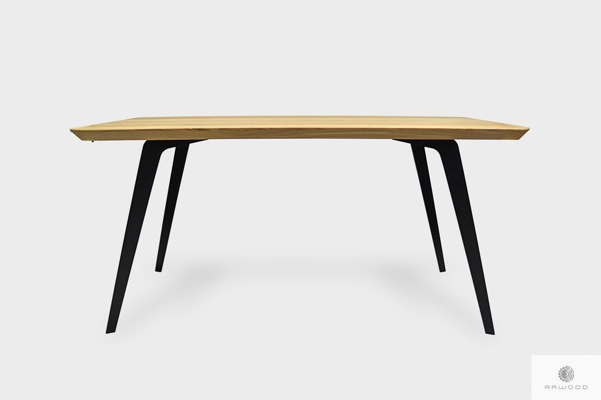 Stół dębowy z zaokrąglonym blatem na metalowych nogach VITA III