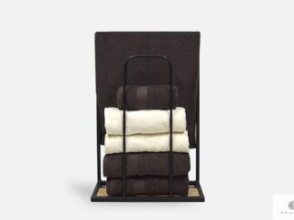 Stojak industrialny wieszak na ręczniki z drewna i metalu